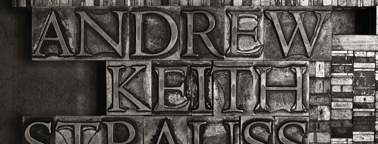 Graphic: The text 'Andrew Keith Strauss' handset in 60 point Monotype Centaur titling capitals for letterpress printing.